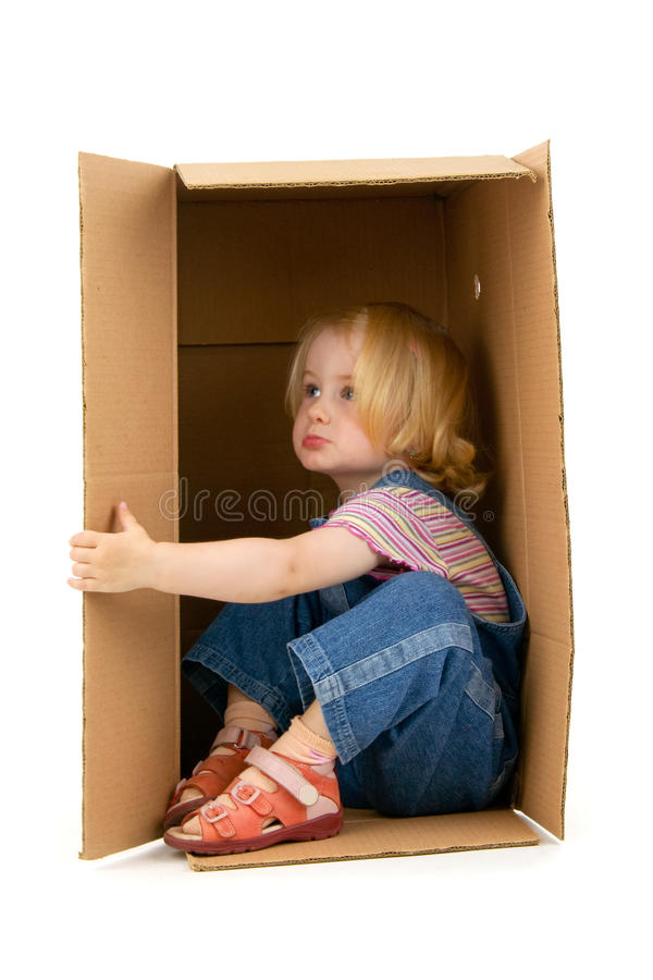 Download Girl inside a Box stock image. Image of inside, home - 23236871