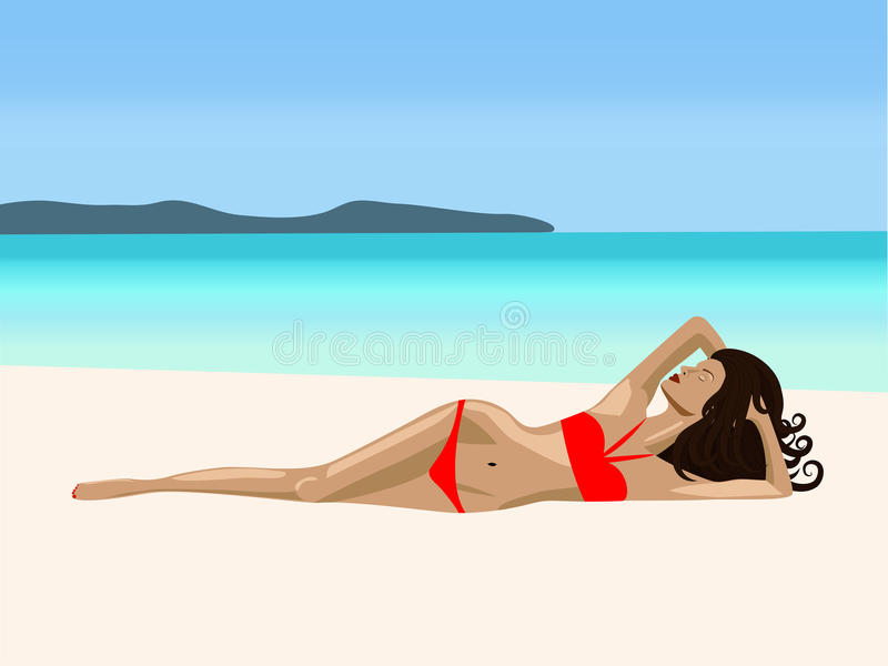 Download A  girl ion a beach stock vector. Image of sand, illustration - 27713433