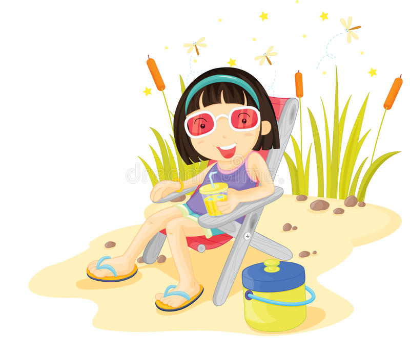Download Girl on island stock vector. Image of drink, infant, beach - 10394965