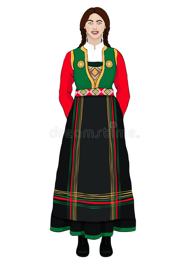 Girl in Italian national costume standing front side, vector drawing cartoon portrait. A brunette woman full-length with long brai royalty free illustration