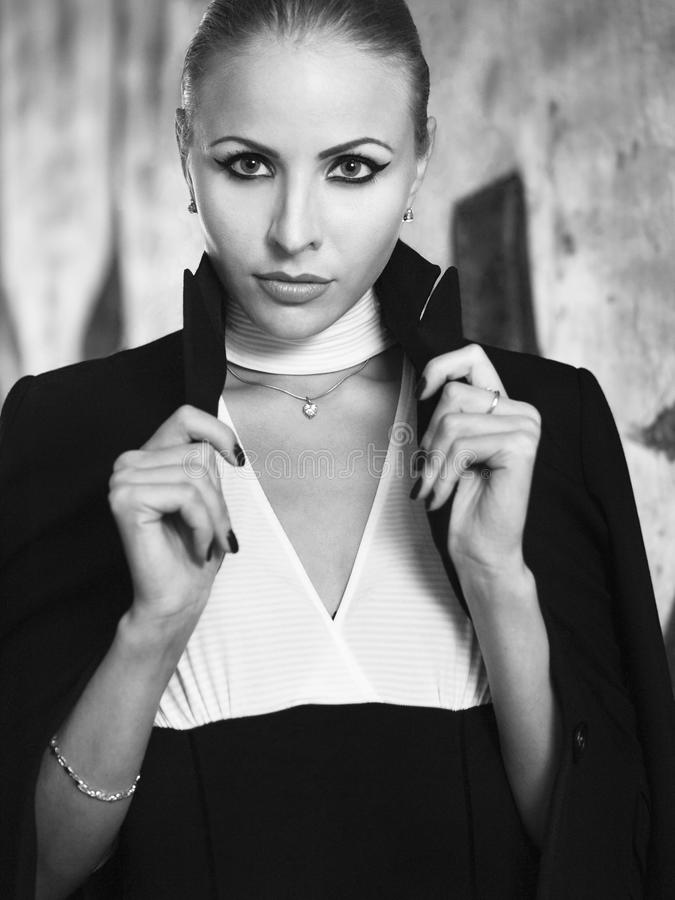 Download Girl In A Jacket Black-and-white Stock Photo - Image: 27764556