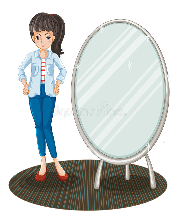 A girl with a jacket standing beside a mirror stock illustration