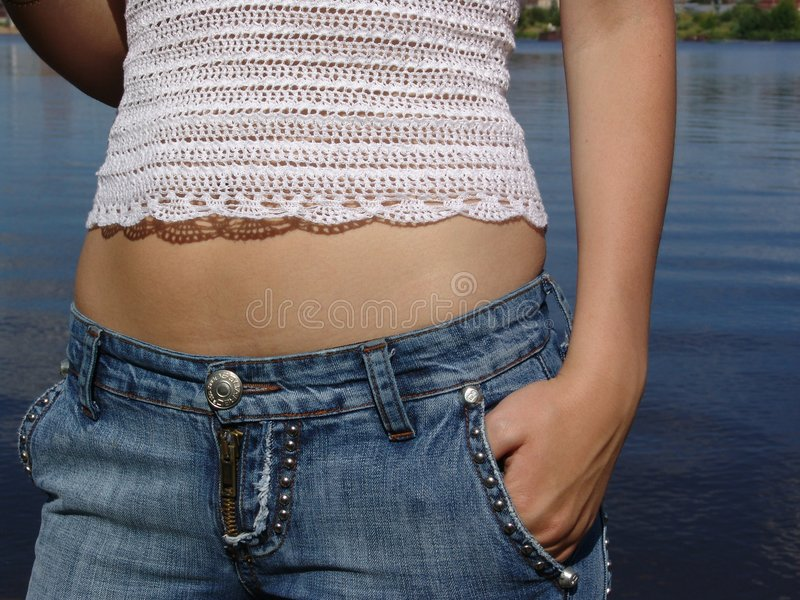 Girl in the jeans royalty free stock photo