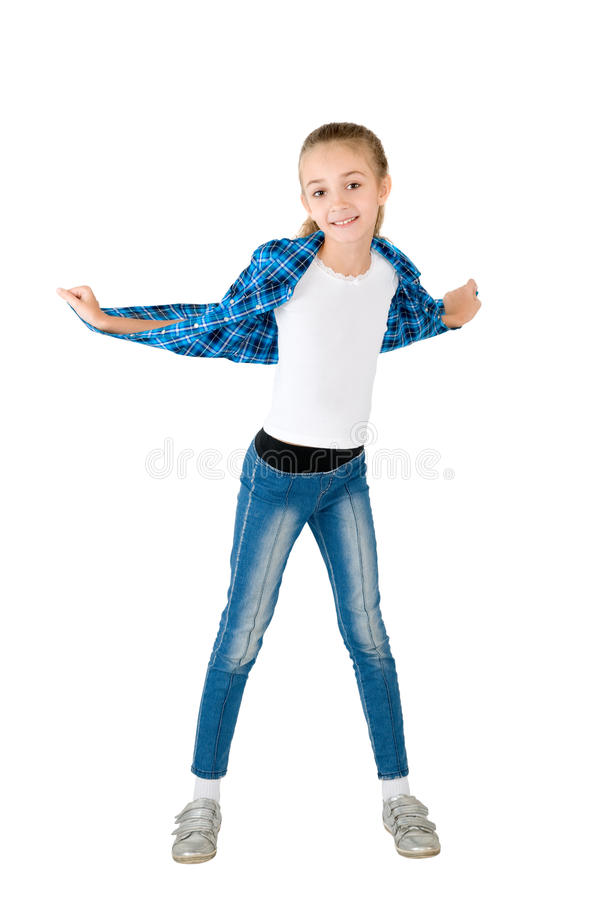 The Girl In Jeans And A Checkered Shirt Royalty Free Stock Images