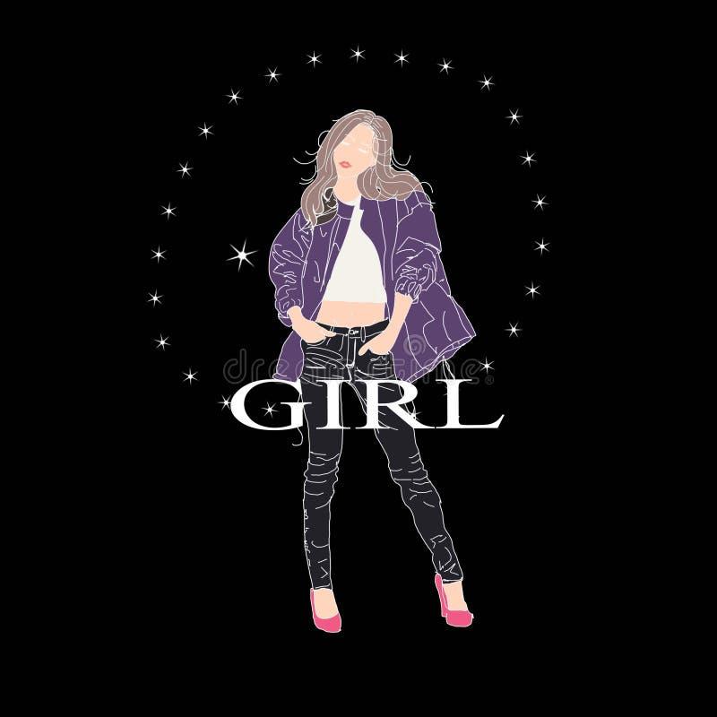 Girl in jeans dress stock photo