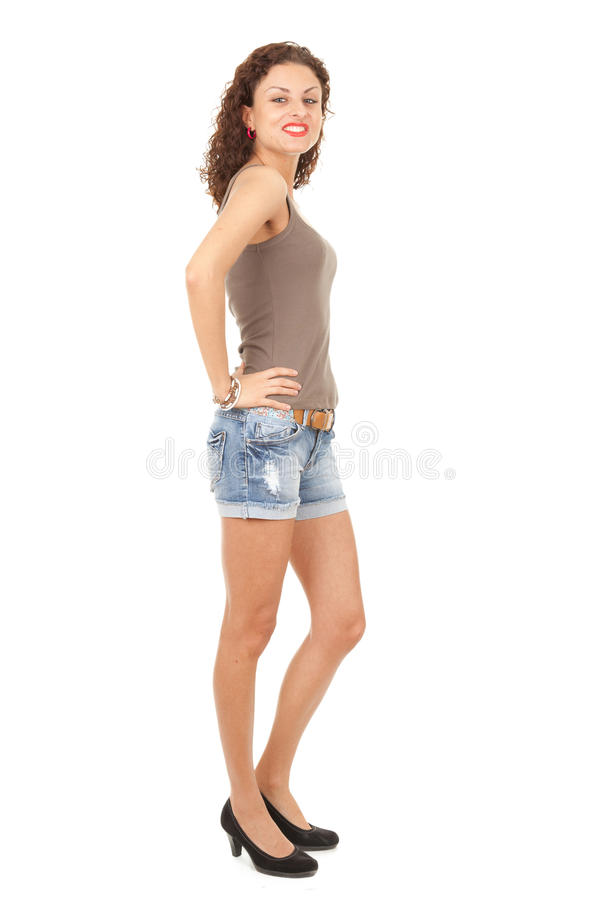 Download Girl In Jeans Shorts, Full Length Stock Image - Image: 21289573
