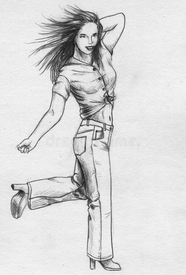 Girl In Jeans - Sketch Stock Photos
