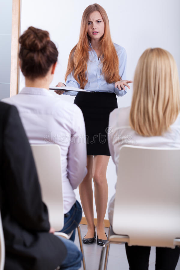 Girl on a job interview stock image