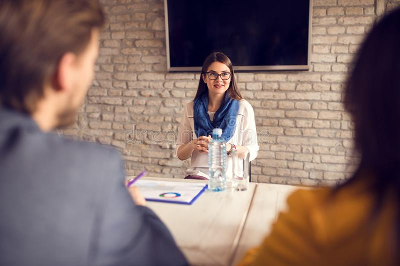 Girl on job interview royalty free stock photography