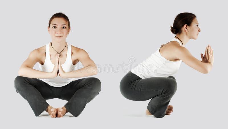 Girl in joga pose establish equilibrium stock photography