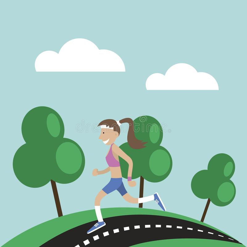Girl jogging nature vector illustration