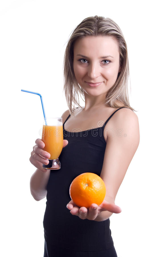 Girl with juice royalty free stock photography