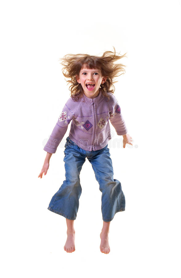 The girl in jump stock images