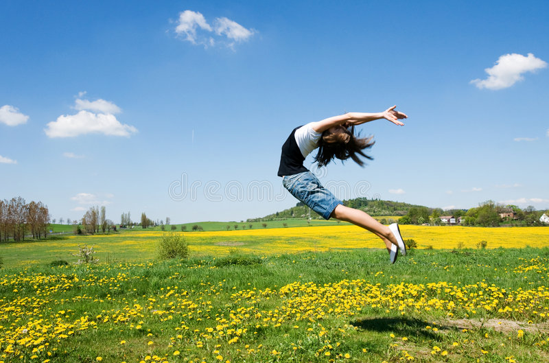 Download Girl jump stock photo. Image of girl, grass, hobby, young - 5395990