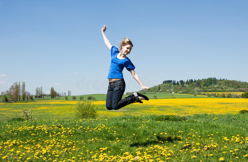 Download Girl jump stock photo. Image of bounce, green, teenager - 5794514