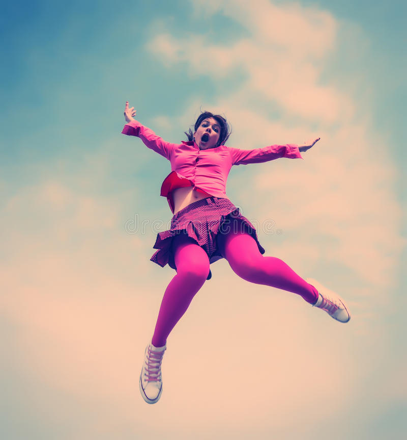 Girl jumped stock image