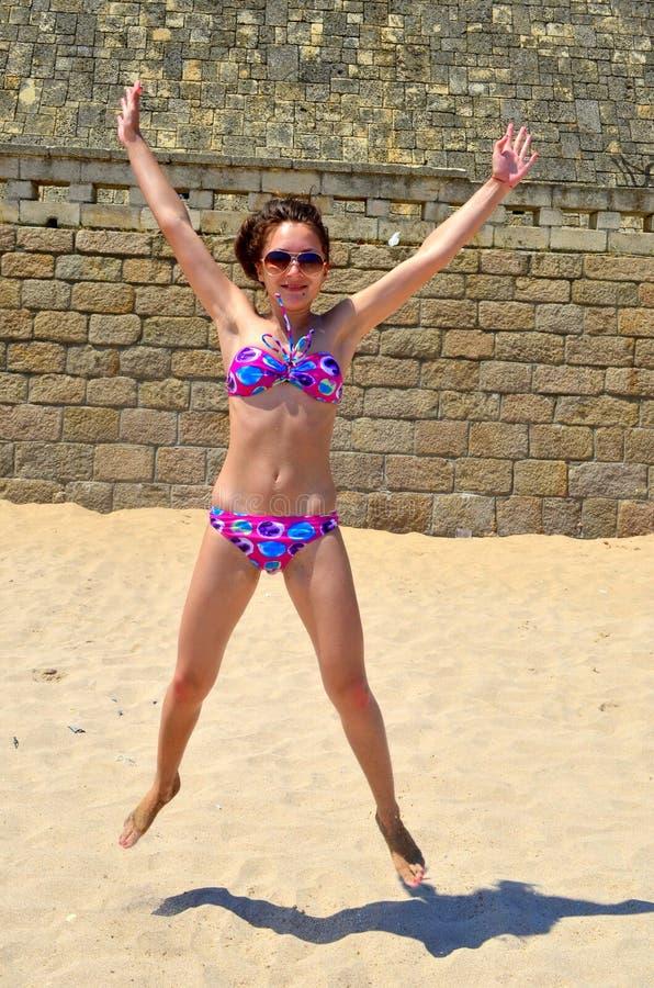 Girl jumping royalty free stock photos