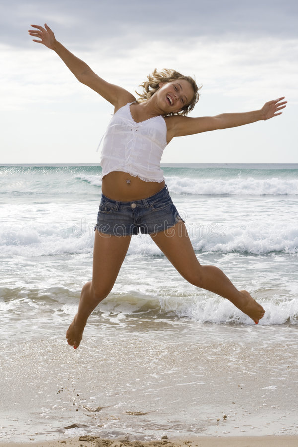 Girl Jumping royalty free stock image