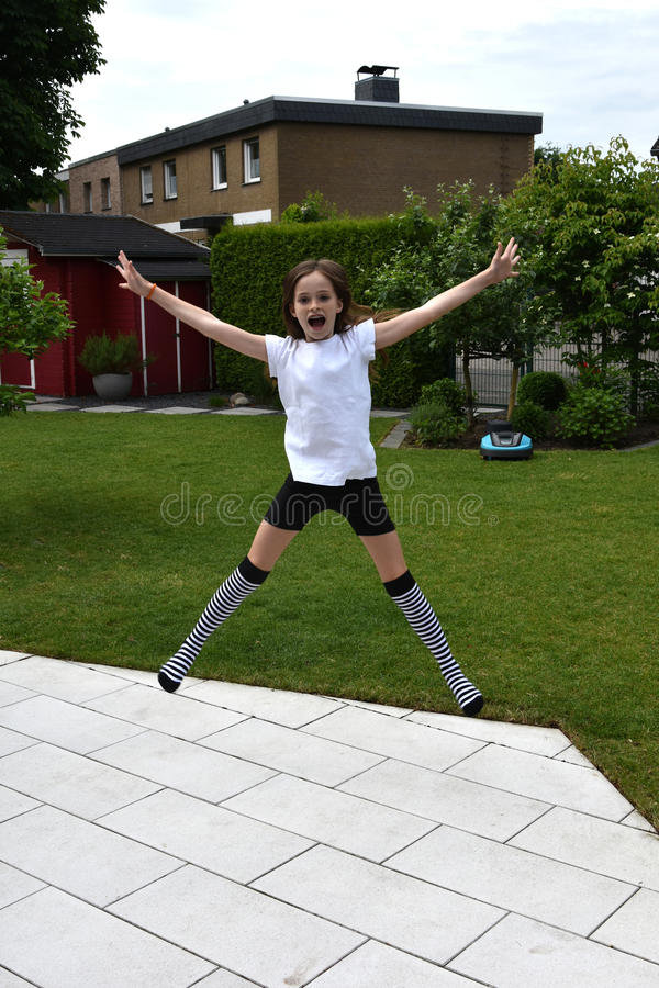 girl jumping royaltyfria foton