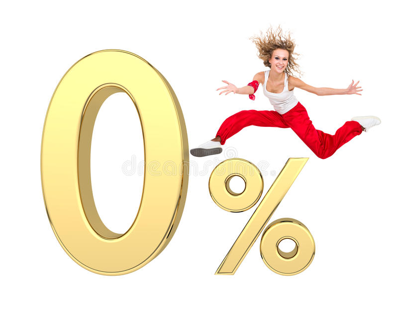 Download Girl Jumping Above Gold 3d Zero Percent Sign Stock Illustration - Image: 28192740
