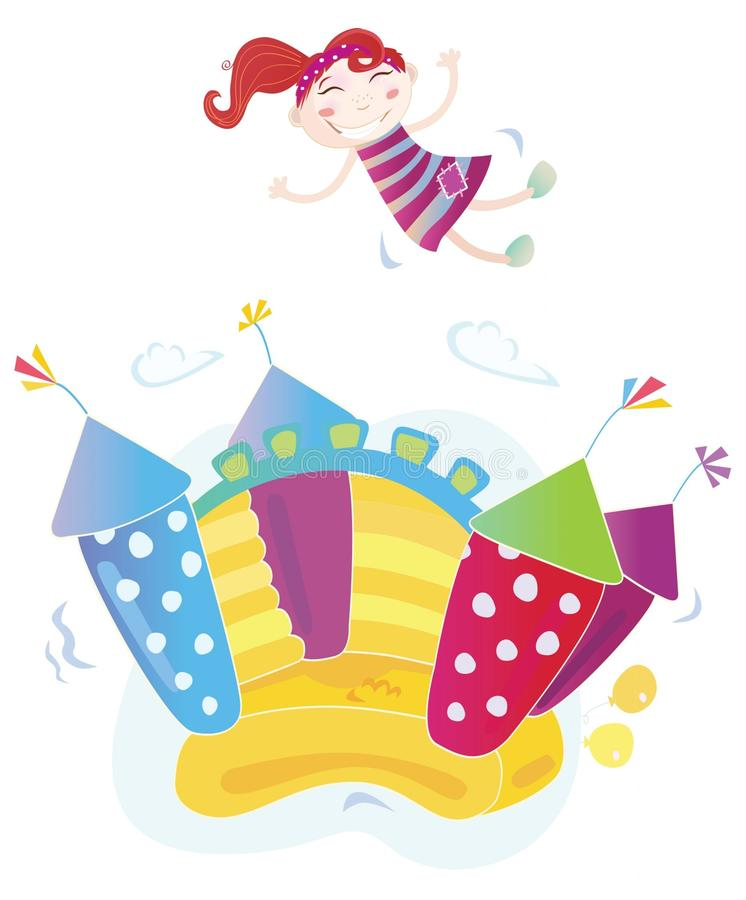 Girl jumping in bouncy castle. Vector Illustration of a bouncy castle with girl jumping on it. Easy to resize and change colors stock illustration