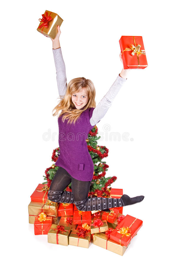Download Girl jumping with gift stock photo. Image of caucasian - 27426990