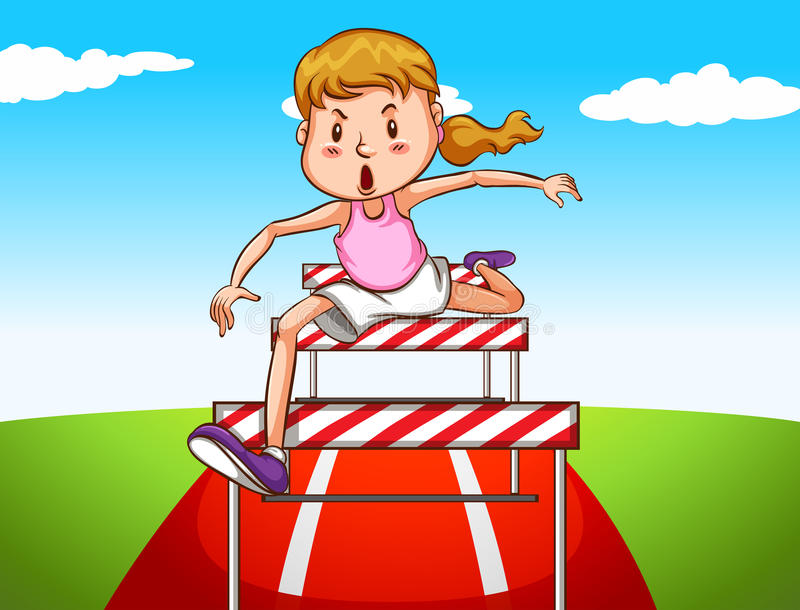 Girl jumping hurdles on track stock illustration