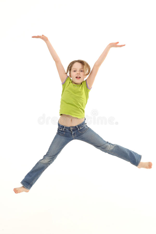 Girl jumping isolated on white background royalty free stock photography