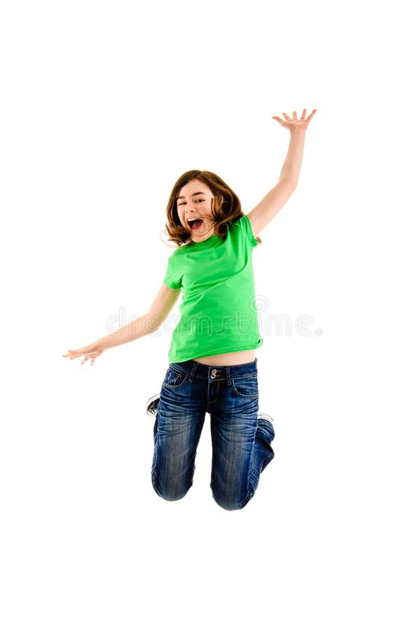 Girl jumping isolated on white background. Girl jumping on white background stock photos