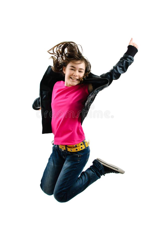 Girl jumping isolated on white background. Girl jumping on white background stock image