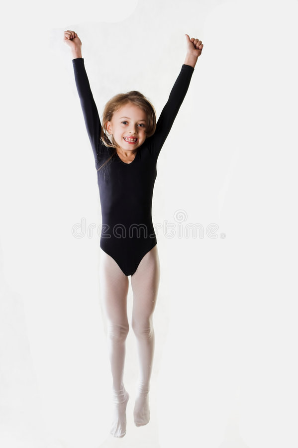 Girl jumping for joy royalty free stock image