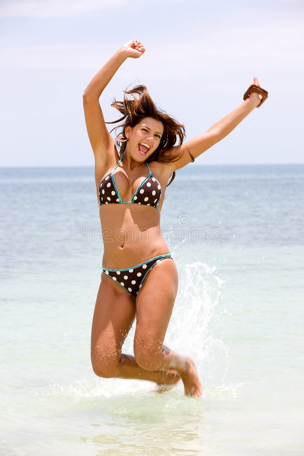 Download Girl jumping of joy stock photo. Image of blue, person - 7909990