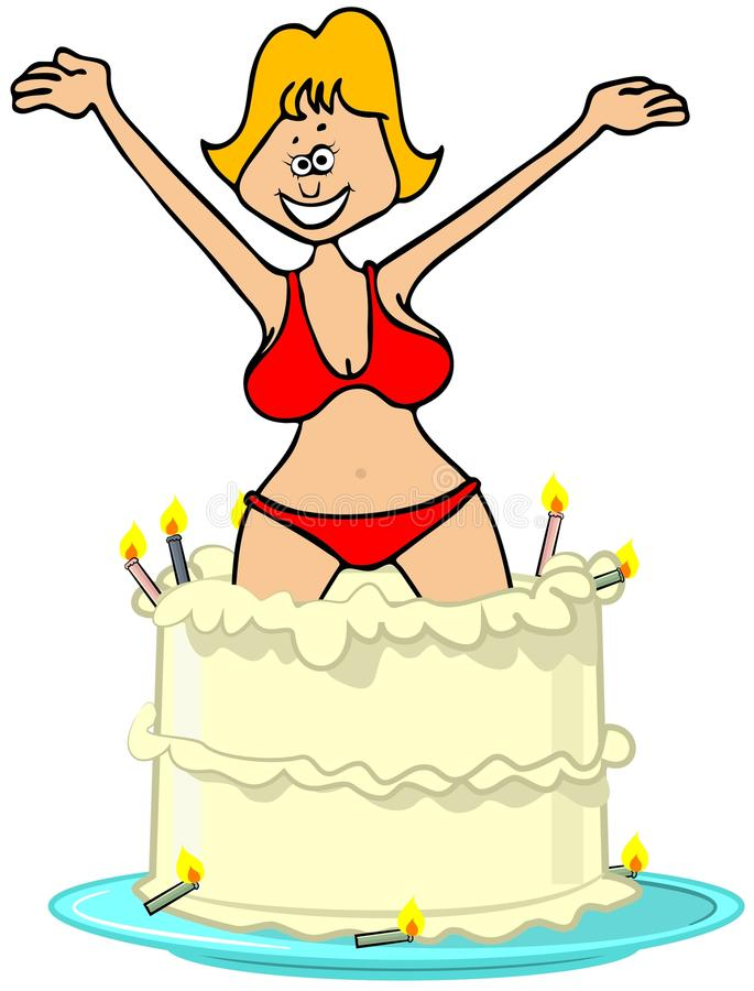 Wondrous Girl Jumping Out Of A Cake Stock Illustration Illustration Of Funny Birthday Cards Online Sheoxdamsfinfo