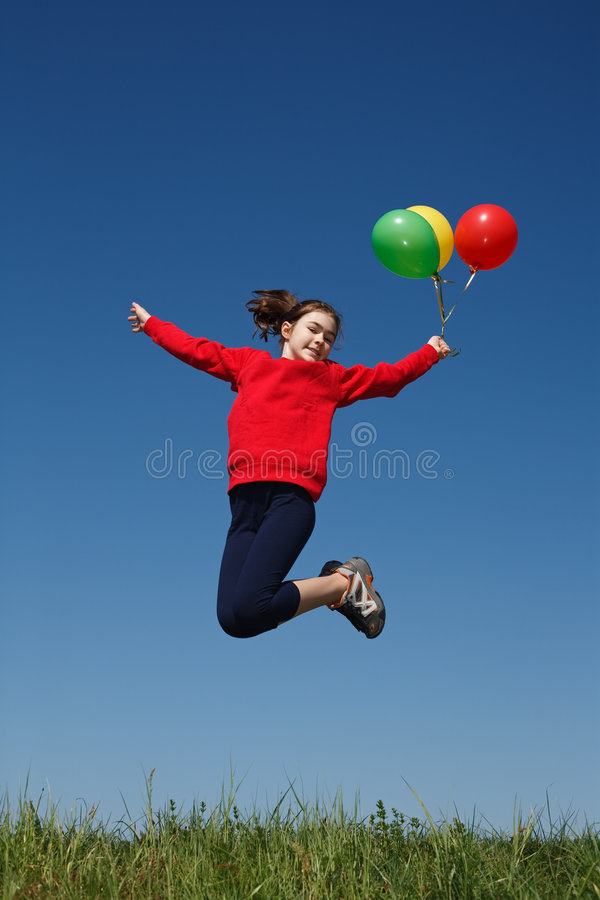Girl Jumping Outdoor Royalty Free Stock Image