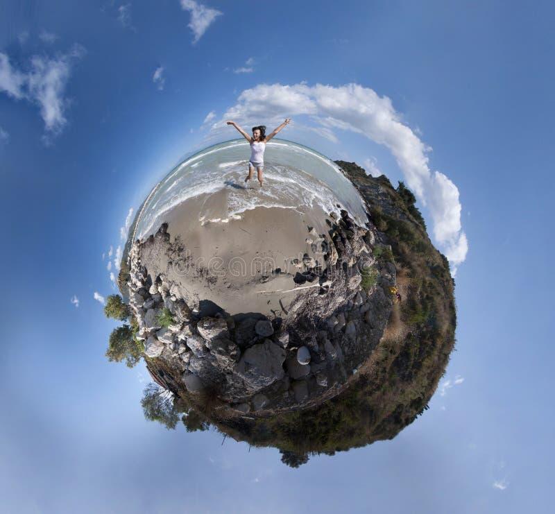Girl jumping panorama royalty free stock images