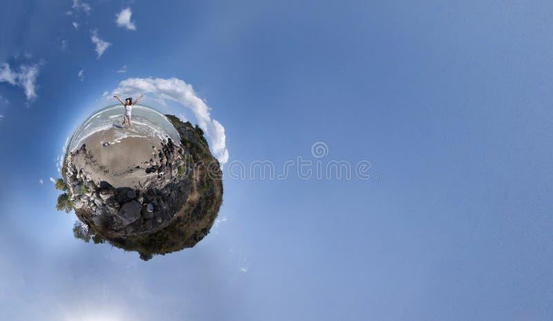 Girl jumping panorama royalty free stock photos