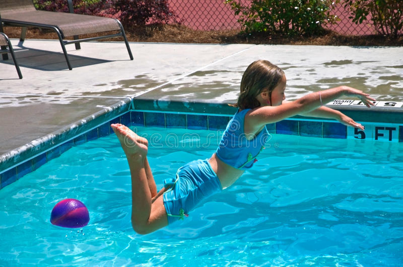 Girl Jumping Into A Pool Stock Photo Image Of Childhood 14441508