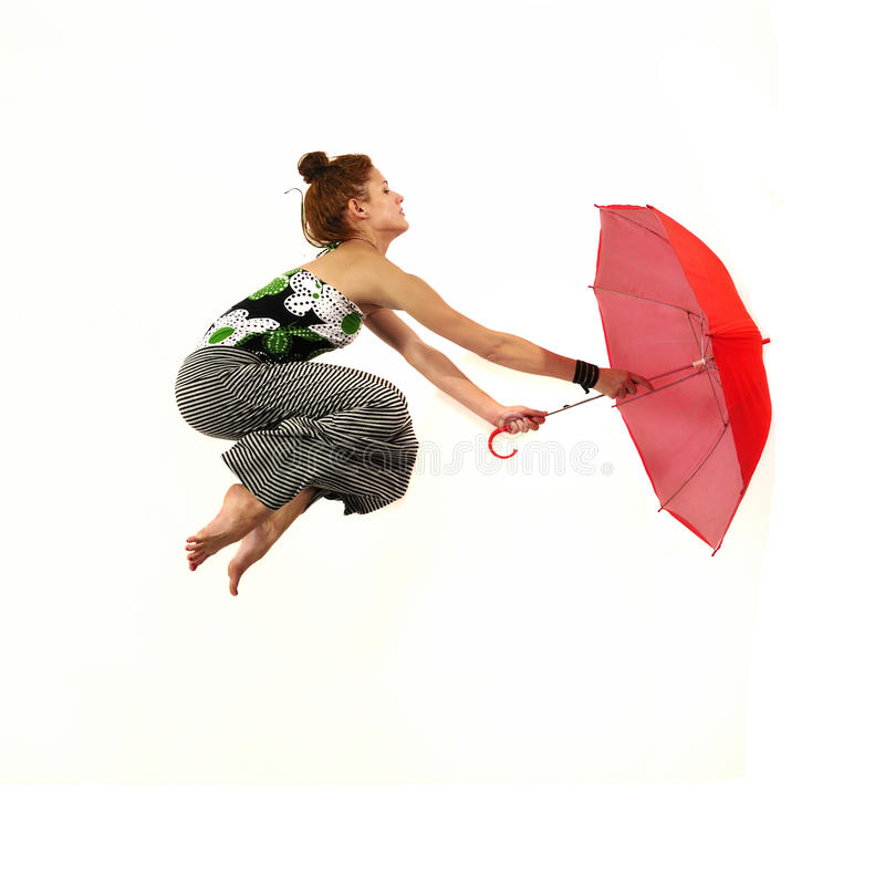 Download Girl Jumping With Red Umbrella Stock Image - Image: 21326319