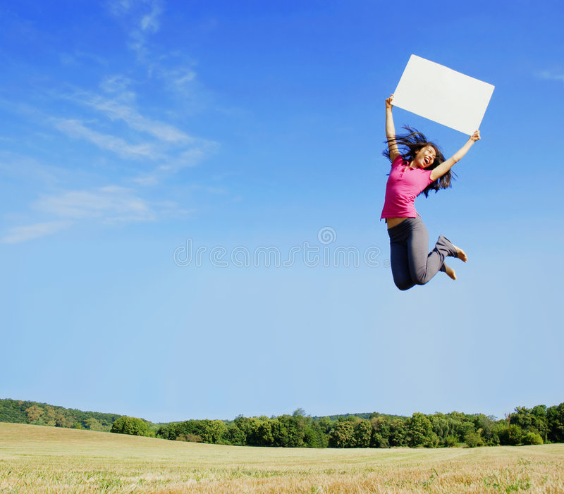 Download Girl Jumping With Sign stock image. Image of leap, paper - 6253733