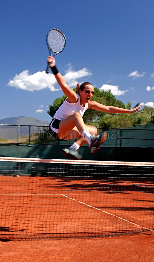 Free Girl Jumping Tennis Net Royalty Free Stock Photo - 123805