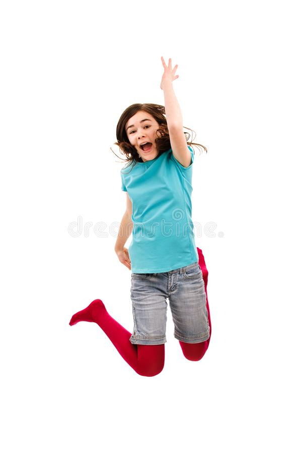 Girl jumping isolated on white background. Girl jumping on white background royalty free stock photos