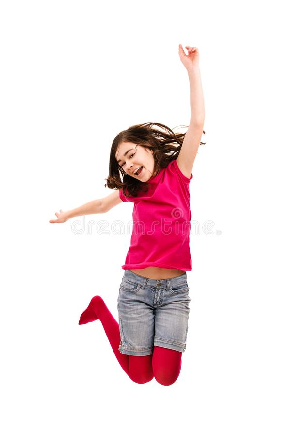 Girl jumping isolated on white background. Girl jumping on white background stock photography
