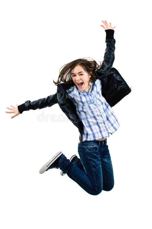 Girl jumping isolated on white background. Girl jumping on white background royalty free stock images
