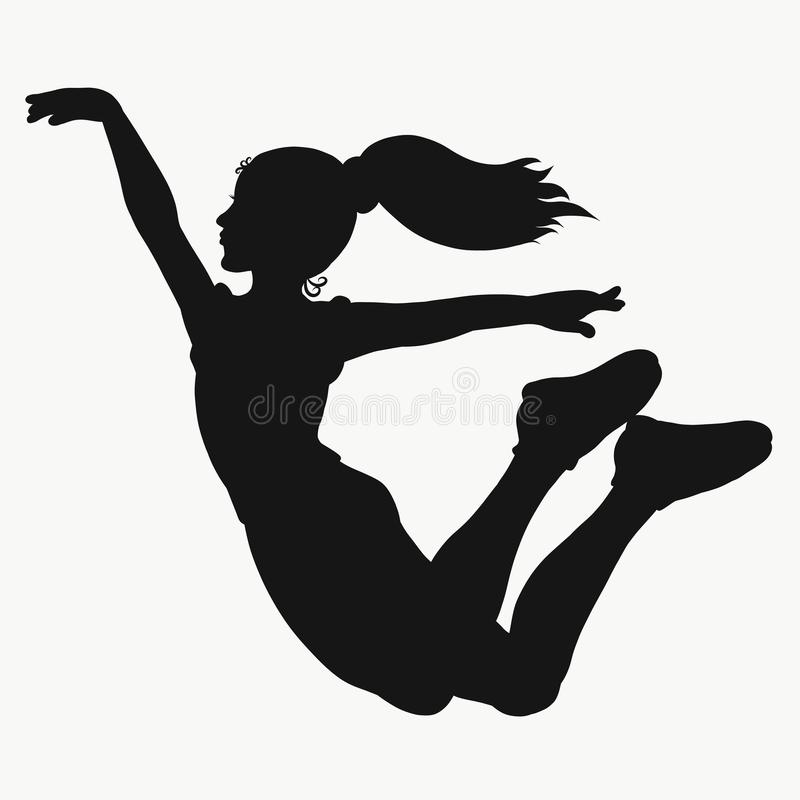 Girl jumping, young athlete, silhouette vector illustration