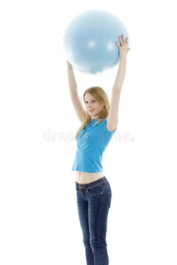 Download Girl keeping blue fitball stock image. Image of caucasian - 13158385