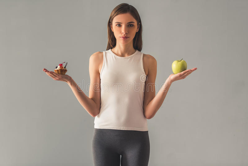 Girl keeping diet royalty free stock photography