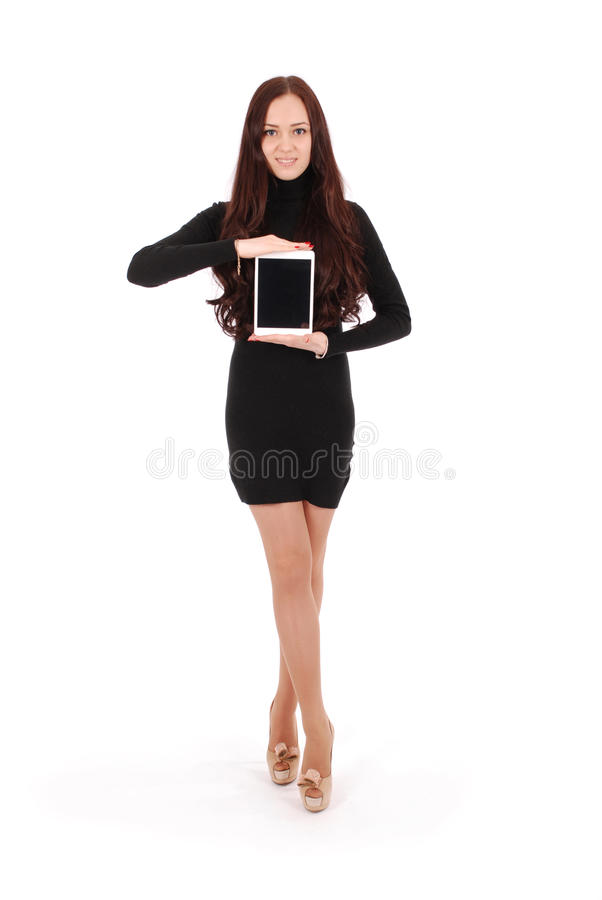 Girl keeps tablet pc. Isolated on white background royalty free stock photos