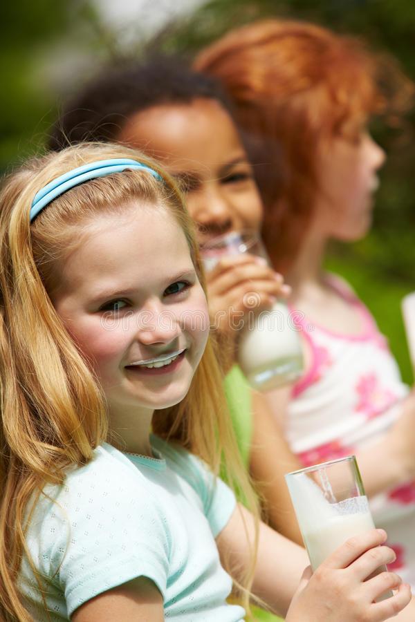 Download Girl with kefir stock image. Image of outdoors, outside - 14834131