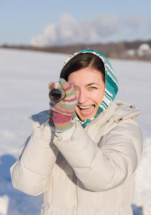 Download Girl In Kerchief Take A Look In Spyglass On Field Stock Photo - Image: 13101090