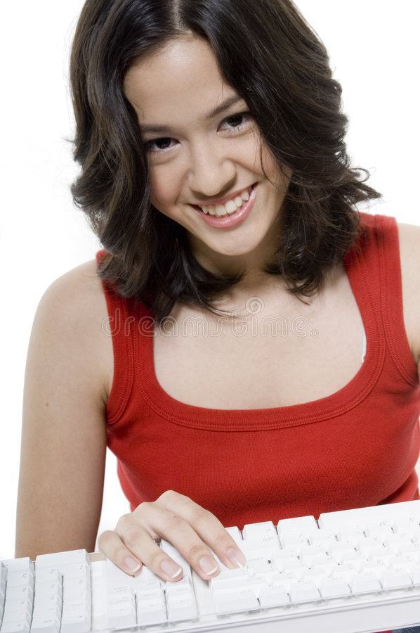 Download Girl With Keyboard Royalty Free Stock Photo - Image: 1907075